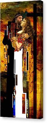 The Kiss     Christ And Maria Magdalena Canvas Print by Karine Percheron-Daniels