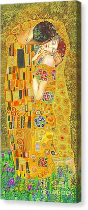 The Kiss After Klimt Canvas Print by Kate Bedell