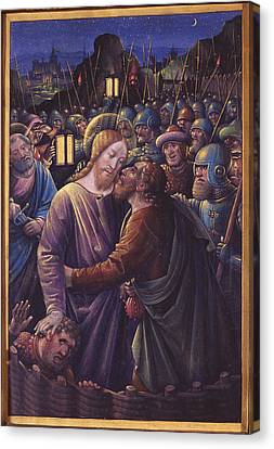 The Kiss Of Judas, End Of 15th Century Vellum Canvas Print by Jean Bourdichon