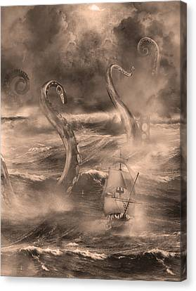 The Kraken Unleashed Canvas Print by Renato Nogueira Saltori