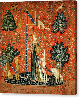 The Lady And The Unicorn Touch Tapestry Canvas Print by French School