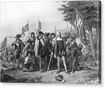 The Landing Of Columbus Canvas Print by Underwood Archives