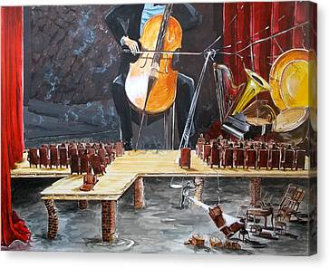 The Last Concert Listen With Music Of The Description Box Canvas Print by Lazaro Hurtado