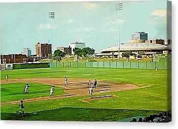 The Lawrence Baseball Stadium In Wichita Ks Around 1920 Canvas Print by Dwight Goss