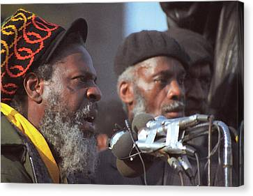 The Leaders Of A Local Antyracist Movement While Performing Their Speach During Toronto Riots 1992 Canvas Print by T Monticello
