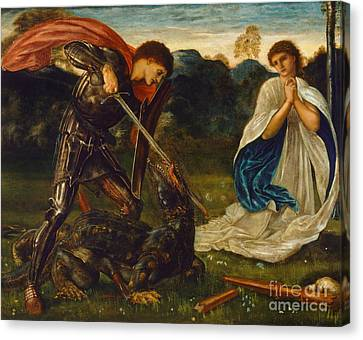 The Legend Of St George And The Dragon Canvas Print by Celestial Images