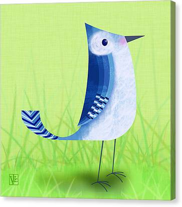 The Letter Blue J Canvas Print by Valerie Drake Lesiak