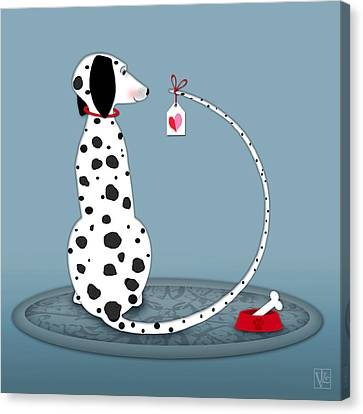 The Letter D For Dalmatian Canvas Print by Valerie Drake Lesiak