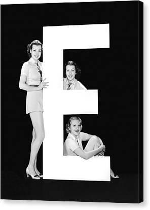 The Letter e And Three Women Canvas Print by Underwood Archives