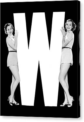 The Letter w And Two Women Canvas Print by Underwood Archives