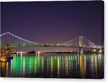 The Lighted Ben Franklin Bridge Canvas Print by Bill Cannon
