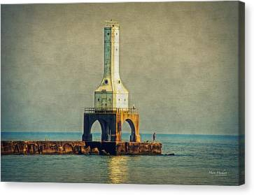 The Lighthouse And The Fisherman Canvas Print by Mary Machare