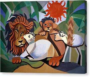 The Lion And The Lamb Canvas Print by Anthony Falbo
