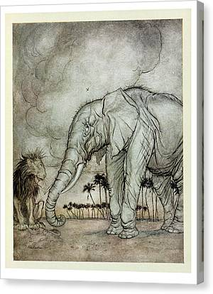 The Lion, Jupiter And The Elephant, Illustration From Aesops Fables, Published By Heinemann, 1912 Canvas Print by Arthur Rackham