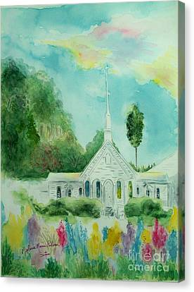 The Little Country Church Canvas Print by Melanie Palmer