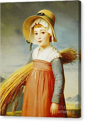 The Little Gleaner Canvas Print by Christophe Thomas Degeorge