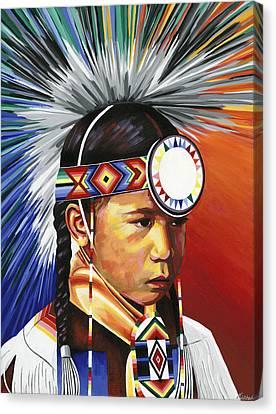 The Little Powwow Dancer Canvas Print by Tyrone Whitehawk