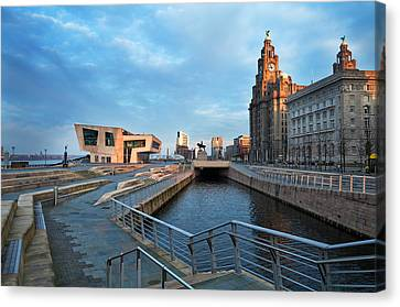 The Liver Buildings And The New Pier Canvas Print by Panoramic Images