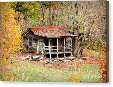 The Log Cabin In The Woods Canvas Print by Reid Callaway