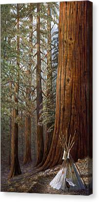The Lone Tee Pee Redwood Canvas Print by Gregory Perillo