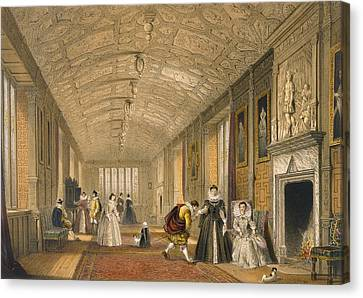 The Long Gallery At Lanhydrock Canvas Print by Joseph Nash