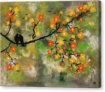 The Love Birds  Canvas Print by Joanna Deritis