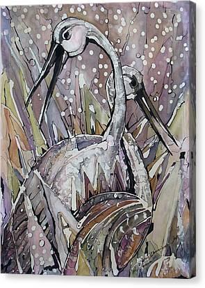 The Love Dance Of Ibises Canvas Print by Deyana Deco