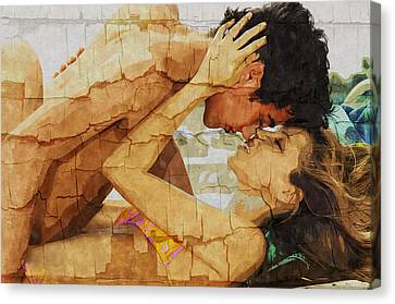The Lovers The Beach  - Stone Town Editions - Texture Photo Art Canvas Print by Nasser Studios