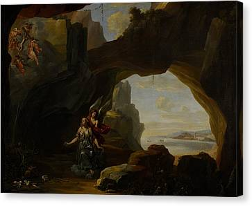 The Magdalen In A Cave Canvas Print by Johannes Lingelbach