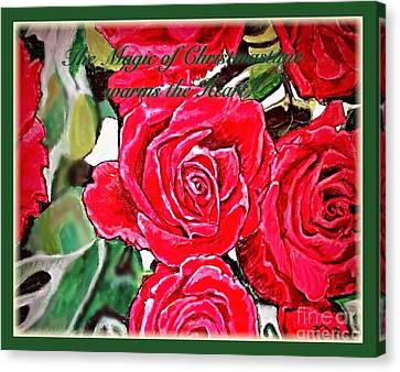The Magic Of Christmastime In Red Roses Traditional Canvas Print by Kimberlee Baxter