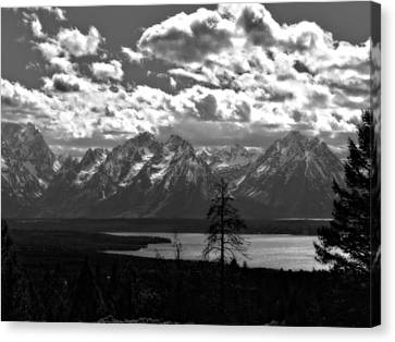 The Majesty Of Mountains In Black And White Canvas Print by Dan Sproul