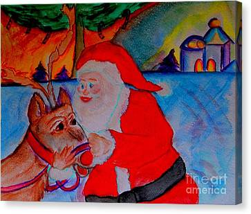 The Man In The Red Suit And A Red Nosed Reindeer Canvas Print by Helena Bebirian