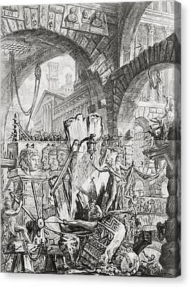 The Man On The Rack Plate II From Carceri D'invenzione Canvas Print by Giovanni Battista Piranesi