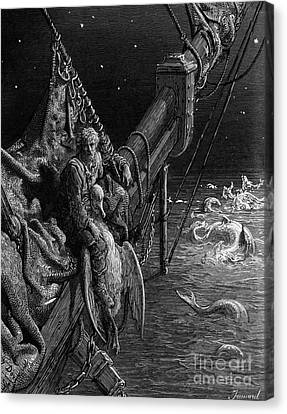 The Mariner Gazes On The Serpents In The Ocean Canvas Print by Gustave Dore