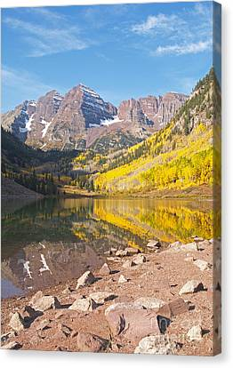 The Maroon Bells Near Aspen Colorado Canvas Print by Alex Cassels