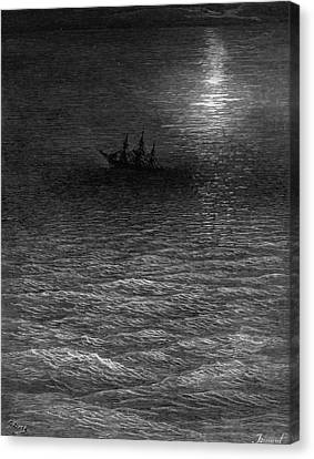 The Marooned Ship In A Moonlit Sea Canvas Print by Gustave Dore