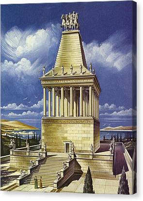 The Mausoleum At Halicarnassus Colour Litho Canvas Print by English School