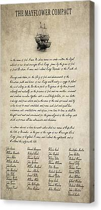 The Mayflower Compact Aged  1620 Canvas Print by Daniel Hagerman