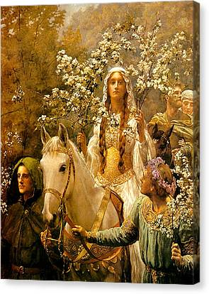 The Maying Of Queen Guinevere Canvas Print by John Collier