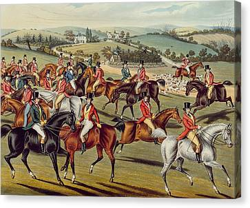 'the Meet' Plate I From 'fox Hunting' Canvas Print by Charles Senior Hunt