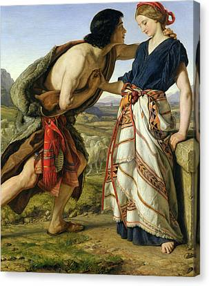 The Meeting Of Jacob And Rachel Canvas Print by William Dyce
