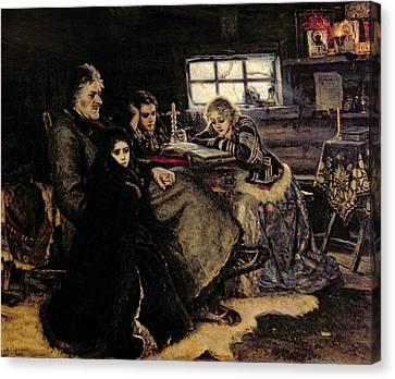 The Menshikov Family In Beriozovo, 1883 Oil On Canvas Canvas Print by Vasilij Ivanovic Surikov