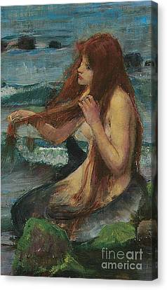 The Mermaid Canvas Print by John William Waterhouse