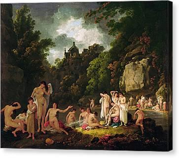 The Mermaids Haunt, 1804 Oil On Panel Canvas Print by Julius Caesar Ibbetson