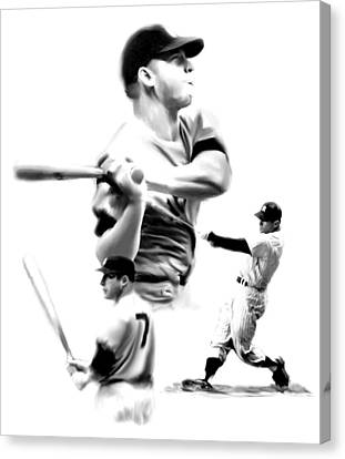 The Mick  Mickey Mantle Canvas Print by Iconic Images Art Gallery David Pucciarelli