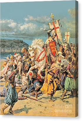 The Mighty King Of Chivalry Richard The Lionheart Canvas Print by Fortunino Matania
