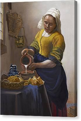 The Milkmaid Canvas Print by Caroline  Stuhr