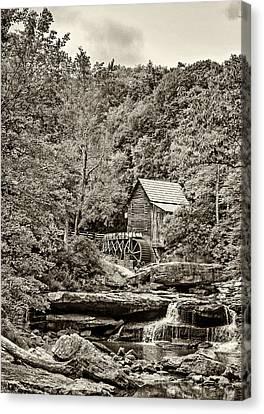 The  Mill At Babcock Sepia Canvas Print by Steve Harrington