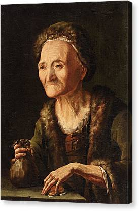The Miser. The Old Bailiff Woman Canvas Print by Balthasar Denner