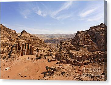 The Monastery And Landscape At Petra In Jordan Canvas Print by Robert Preston
